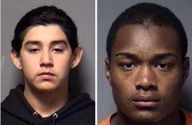 Police mugshots of Ricky J. Moreno (left) and Mario A. Williams, both 15.