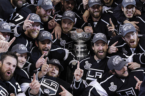 Kings players pose for a team photo after winning their first Stanley Cup by beating the New Jersey Devils 6-1 in Game 6 of the Stanley Cup Final at Staples Center.