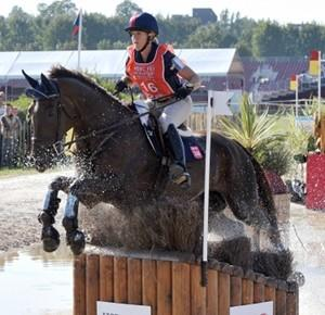 Allison Springer and Arthur in a French cross-country event.