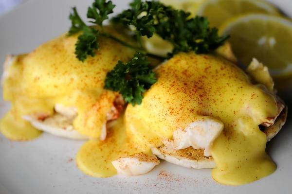 Kitchen Little's breakfast special is lobster benedict: 3 ounces. of fresh lobster meat with hollandaise sauce over toasted English muffins.