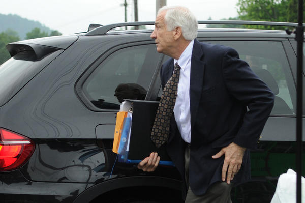 Jerry Sandusky arrives at the courthouse for the second day of his sexual abuse trial at the Centre County Courthouse, in Bellefonte, Pennsylvania.