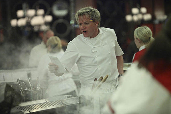 "Chef Gordon Ramsay bellows an order in ""Hell's Kitchen."""