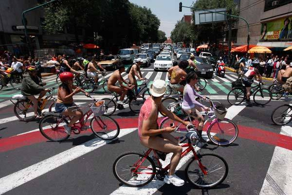 Naked cyclists take part in the World Naked Bike Ride in Mexico City.