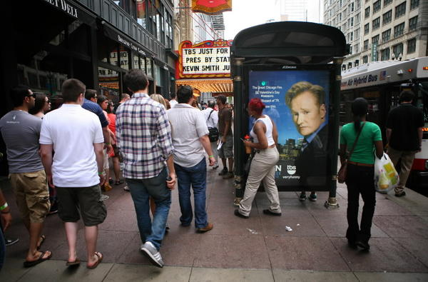 Scene outside the Chicago Theatre for the live TV taping of the Conan O'Brien Show as part of Just for Laughs festival Monday, June 11, 2012.