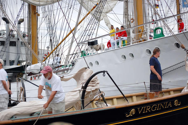 The Colombian naval ship Gloria pulls alongside the schooner Virginia.