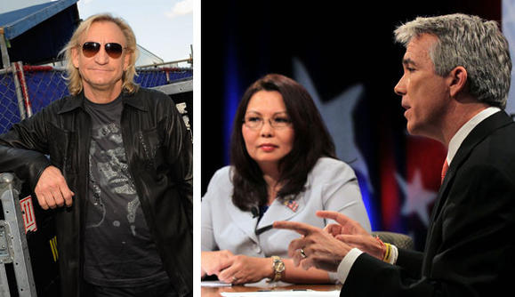 Guitarist Joe Walsh (left) endorsed Tammy Duckworth (center) in her bid against Republican U.S. Rep Joe Walsh of McHenry. Getty, Tribune photos