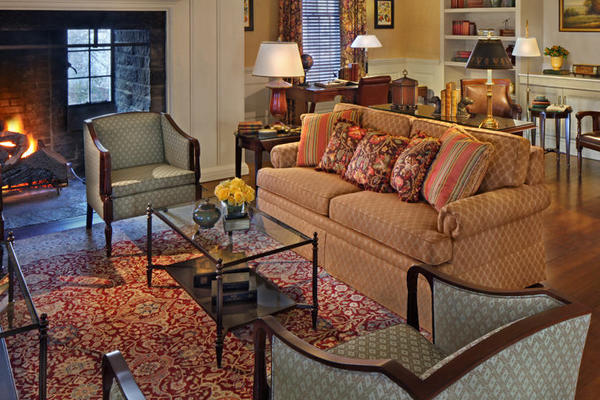The decor and furnishings throughout the hotel evoke New England charm.