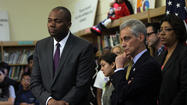 Mayor Rahm Emanuel and Chicago Public Schools CEO Jean-Claude Brizard Cesar Chavez Multicultural Academic Center today. Scott Strazzante/Chicago Tribune