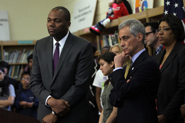 Mayor Rahm Emanuel and Chicago Public Schools CEO Jean-Claude Brizard Cesar Chavez Multicultural Academic Center today.