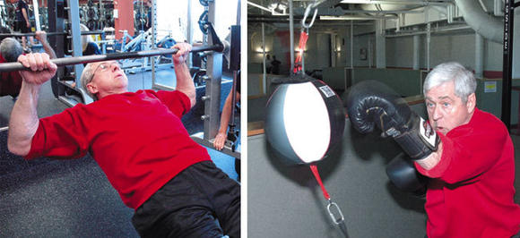 Left, cardiac rehab patient Stan Strand, 69 of Woodridge, gets tips from personal trainer Carol Dreiss at Edward Health & Fitness Center. Right, Strand works on the speed bag, monitoring his heart rate during workouts.