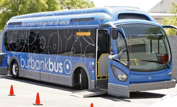 A hydrogen-powered bus is on display at the Bob Hope Airport. The city could get one this summer.