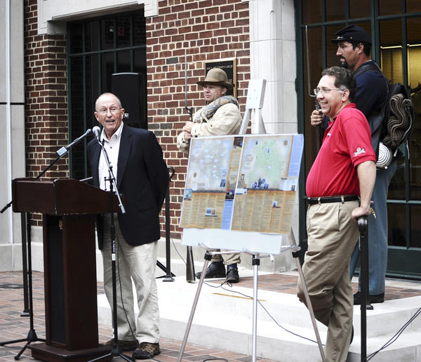 Roger Finn, left, and Stephen Bockmiller speak at the Washington County Museum of Fine Arts Tuesday about the Heart of the Civil War Heritage Area's First Call Weekend celebration this weekend in Hagerstown. The event marks the 150th anniversary of Gen. Robert E. Lee's Maryland Campaign.