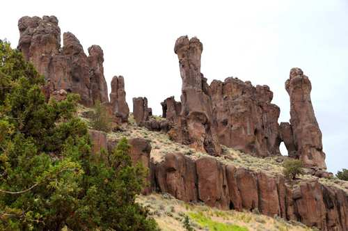 Fairy chimneys stand along the cliffs of Jarbidge Canyon.