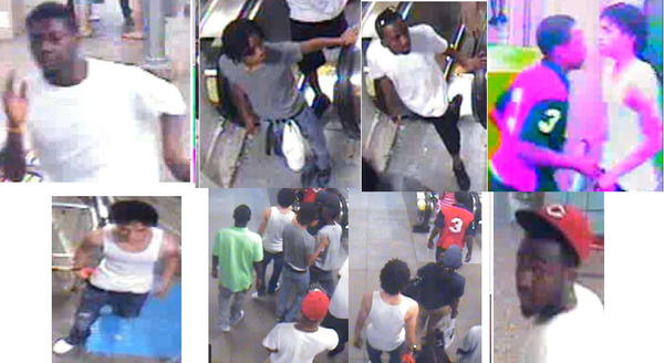 Surveillance photos of teens believed involved in a robbery and mob attack on the Red Line downtown June 9.