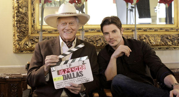"Larry Hagman and Josh Henderson on the first day of filming ""Dallas."""