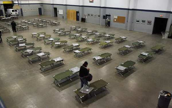 A shelter at Glendale National Guard Armory. The number of homeless people in the city has dropped to 299.