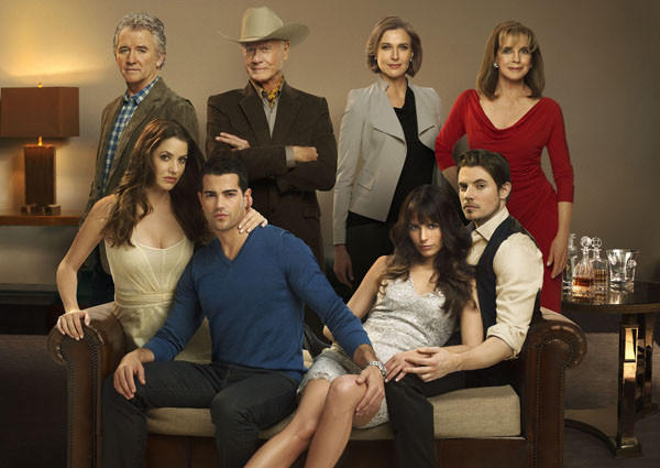 "The ""Dallas"" cast: (back, from left) Patrick Duffy, Larry Hagman, Brenda Strong and Linda Gray; (front, from left) Julie Gonzalo, Jesse Metcalfe, Jordana Brewster and Josh Henderson."