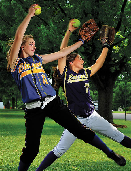 Clear Spring's Amber Forrest, left, and Smithsburg's Cara Ferguson are The Herald-Mail's Washington County Softball Co-Players of the Year for 2012.
