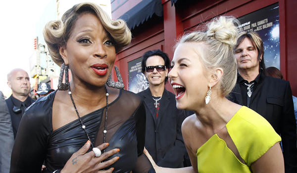 "Mary J. Blige and Julianne Hough laugh at the June 8 premiere of ""Rock of Ages"" at Grauman's Chinese theatre in Hollywood."