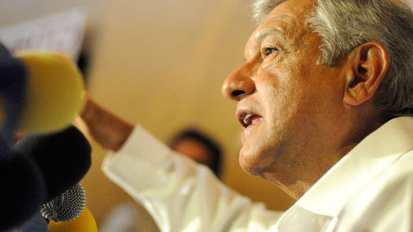 Mexican presidential candidate Andres Manuel Lopez Obrador speaks with media in Mexicali Tuesday morning.