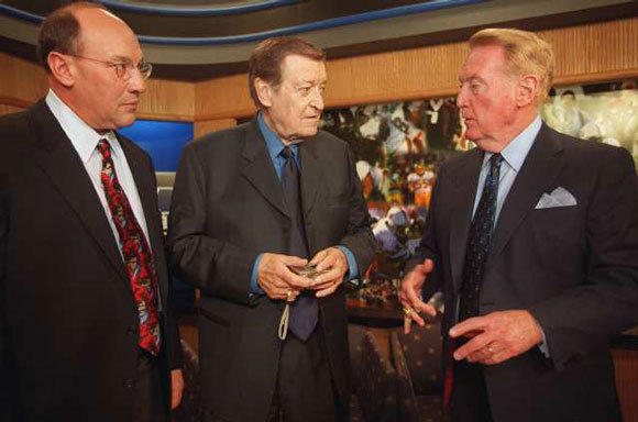 L.A.'s titanic trio of sports announcers -- Bob Miller, left, the late Chick Hearn and Vin Scully -- in 2000.