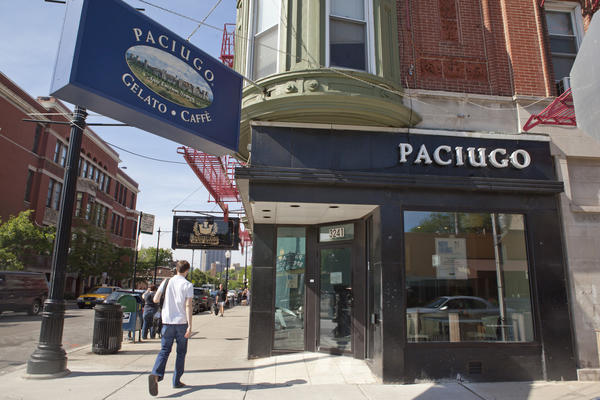 Paciugo's Broadway location serves rotating flavors of gelato and sorbet.