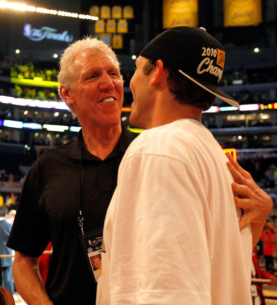 Luke Walton #4 and father Bill Walton celebrate the Los Angeles Lakers' 83-79 victory against the Boston Celtics in Game Seven of the 2010 NBA Finals at Staples Center on June 17, 2010 in Los Angeles.