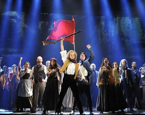 "The cast of the 25th anniversary tour of ""Les Misérables"" at Segerstrom Center for the Arts."