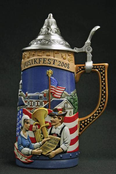 "A former ArtsQuest employee claims that the ceramic beer steins (like the one shown here) Musikfest advertises as ""handcrafted in Germany"" are actually made in China. The beer stein in this photo was from Musikfest's 25th anniversary celebration."