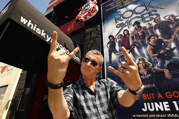 "Director Adam Shankman gets into the rock spirit in front of the Whisky A Go-Go for his latest movie, ""Rock of Ages."""