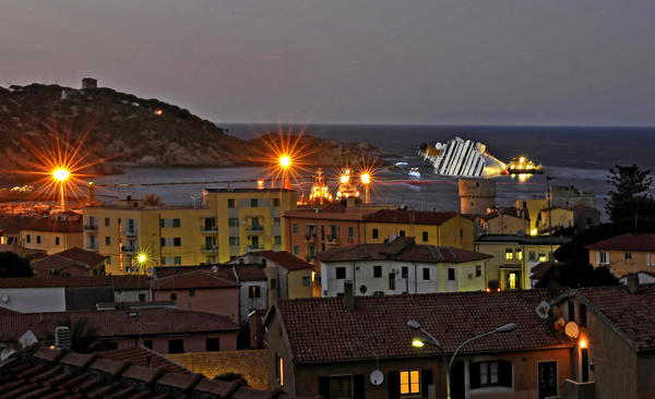 Costa Concordia in waters off Giglio Island, Italy