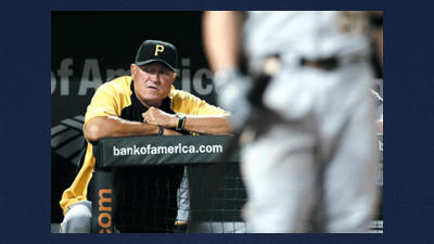 Pittsburgh Pirates manager Clint Hurdle watches from the dugout as Michael McKenry walks up to an at-bat in the ninth inning of a baseball game against the Baltimore Orioles in Baltimore, Wednesday.