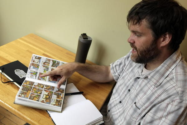 "Jeffrey Brown, known for his vulnerable-looking comics about relationships and his own life, has a new Father's Day book called ""Darth Vader and Son."""