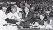 1955: Richard J. Daley with Sox manager Marty Marion and Cubs manager Stan Hack