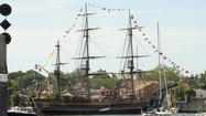 Tall ship, replica of Bounty docked in Annapolis for tours