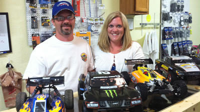 Terry (left) and Charlynn McBee operate a new radio control hobby store, Terrys R/C Hobbies, at their home on North Advance Road between Boyne City and East Jordan.