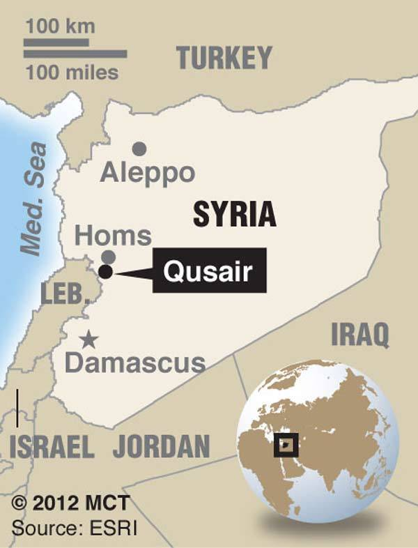 Map locates Syrian city of Qusair; less than 20 mi. (32 km) from the battered city of Homs, Qusair rose up against President Bashar Assad last year and as a result has been a frequent target.