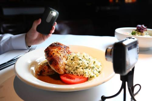 Use lighting apps in smart phone for extra lighting, in the process of shooting food for the Dining page, at Bandera restaurant.
