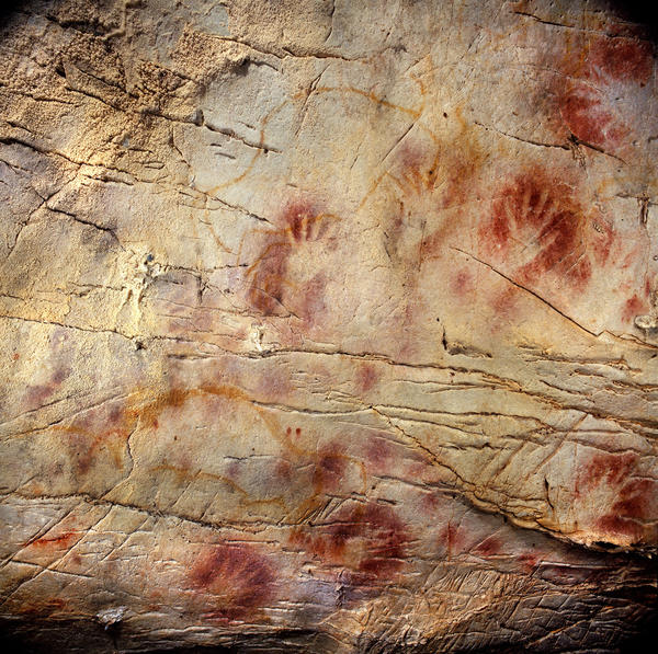 This undated photograph shows hand stencils  at the El Castillo Cave in Spain, which uranium-series dating reveals to be earlier than 37,300 years ago, making them the oldest cave paintings in Europe.  The practice of cave art in Europe thus began up to 10,000 years earlier than previously thought.