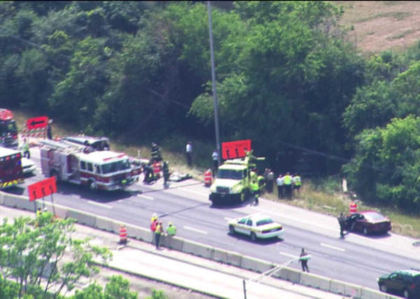 Crews on the scene of a crash on Interstate 57 Thursday afternoon, June 14. WGN-TV
