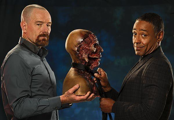 "Bryan Cranston, left, and Giancarlo Esposito's characters squared off in ""Breaking Bad,"" with deadly consequences. <br>
