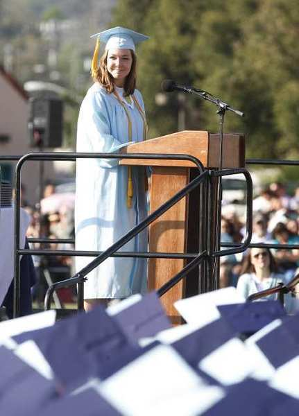 Crescenta Valley High School graduate Carrie Ostler gives the senior address at the school's commencement ceremony at Glendale Community College.