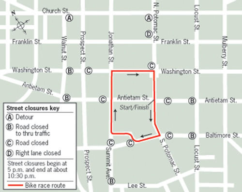 The route for Friday's scheduled Velo bicycle races in downtown Hagerstown