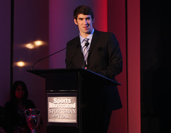 NEW YORK - DECEMBER 02:  Sportsman of the Year Michael Phelps speaks at the Sports Illustrated 08 Sportsman of the Year Awards at IAC Building on December 2, 2008 in New York City.  (Photo by Stephen Lovekin/Getty Images for Sports Illustrated) ORG XMIT: 83866345