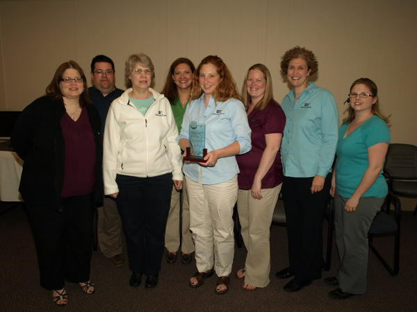 Members of Korthase Flinn Insurance and Financial Services team for the Win by Losing competition include (from left) Sue Tubacki, Kris Guzniczak, Sue Pennington, Emily Wilmot, Sarah Reid, Brooke Sandtveit, Heather Engel and Starr Golembiewski. The team took first place in its category for Win by Losing. Absent from the photo are team members Betsy Britton, Matt Britton, Jill Reynolds, and Karin Corcoran.