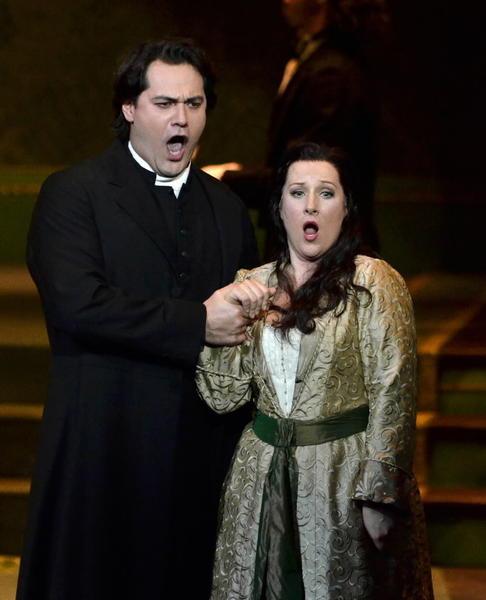 "German soprano Diana Damrau as Lucia and Russian bass-bariton Ildar Abdrazakov as Raimondo in a production of ""Lucia di Lammermoor"" in Tokyo last year."