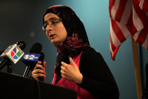 Alaa Mukahhal speaks to reporters at the ICIRR offices in Chicago today. Mukahhal arrived in the U.S. when she was six in 1993, when her family was fleeing violence in Kuwait after the first Gulf War. Mukahhal's family overstayed the visa and they became undocumented. Last year Mukahhal applied for asylum and is currently in the country with a temporary work permit while her deportation status is being decided.