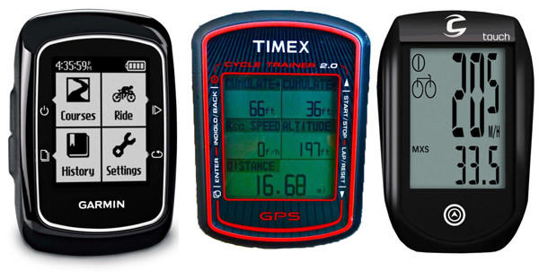 Bike computer options include the Garmin Edge 200, left, Timex Cycle Trainer 2.0 and the Cannondale IQ300. (Garmin photo: Garmin; Timex photo: Roy M. Wallack / For the Los Angeles Times; Cannondale photo: Jake Hamm / Cannondale)