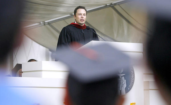 Elon Musk, CEO of SpaceX and Tesla Motors, was commencement speaker at California Institute of Technology's 118th Annual Commencement at the Pasadena campus on Friday, June 15, 2012.