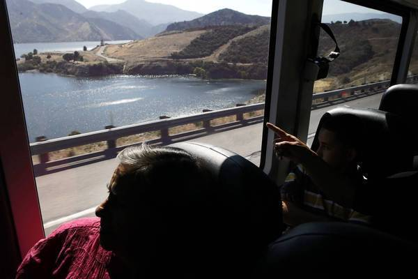 Bus seats afford a good view of Pyramid Lake, near Castaic, on a Greyhound trip in California.